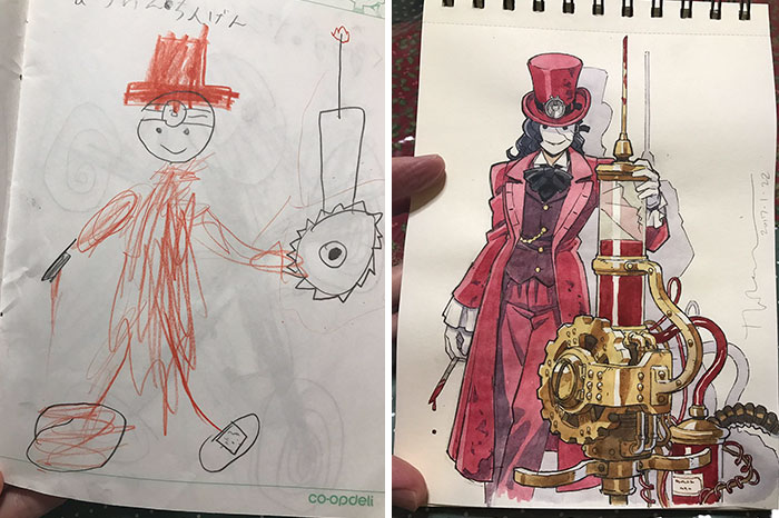 father and son drawing anime-characters-thomas-romain 4